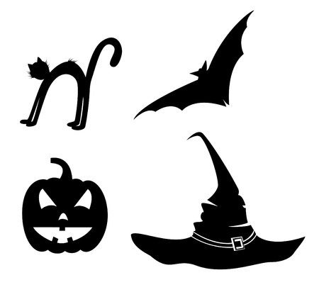 Collection for Halloween. Bat, pumpkin, hat and cat. Stock Vector - 10467849