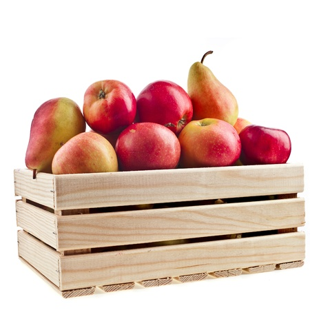 Wooden crate box full of fresh apples and pear isolated on a white background photo