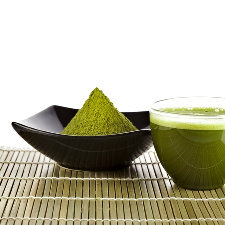 green drink powder: powdered green tea on bamboo napkin texture