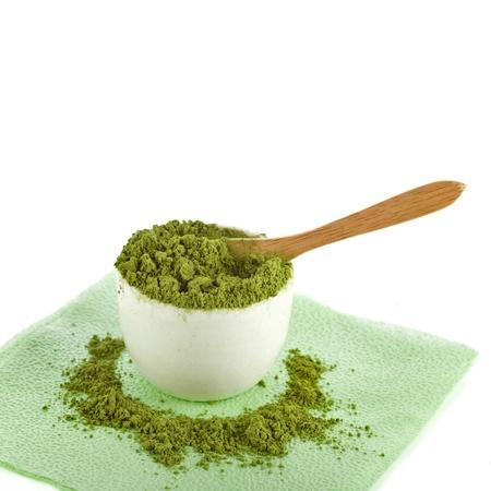 matcha: Japanese Matcha green powder tea in cup