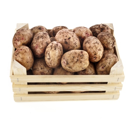 young potatoes in a wooden box isolated on white photo