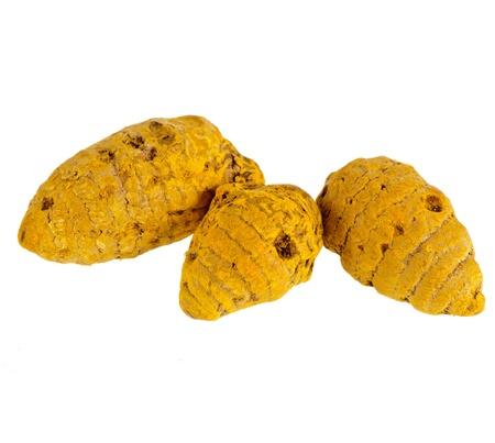 Turmeric root or curcuma isolated on white background photo