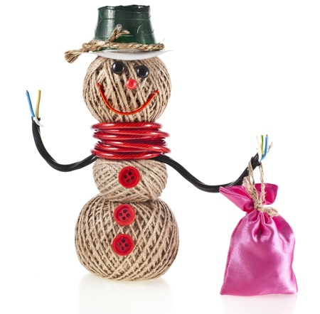 hank: Happy Snowman made of yarn, rope, wire, tape with a bag of gifts isolated on white background Stock Photo