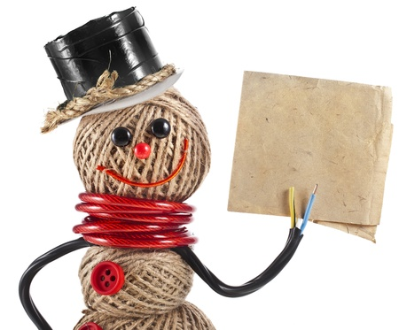 jute: Happy Snowman made of yarn, rope, wire, tape with paper card isolated on white background