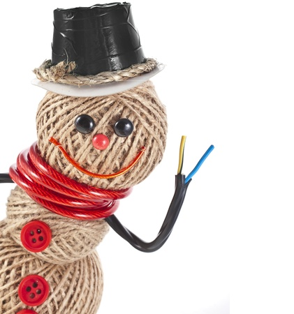 hank: Happy Snowman made of rope, wire, tape isolated on white background Stock Photo