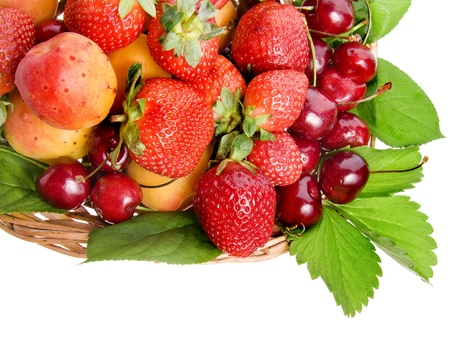 cherry varieties: sweet fruit and berry in the basket isolated on white background
