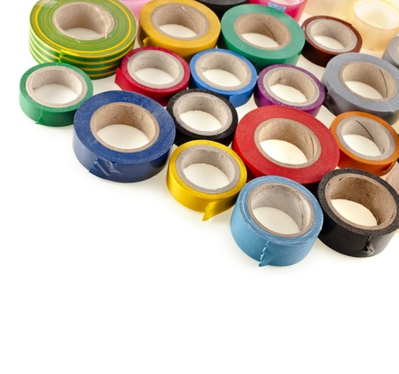 packing tape: Multicolored insulating tapes roll isolated on white background Stock Photo