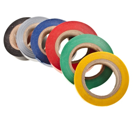 Multicolored insulating tapes roll isolated on white background Stock Photo - 17735833