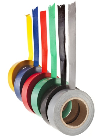 sellotape: Multicolored insulating tapes roll isolated on white background Stock Photo