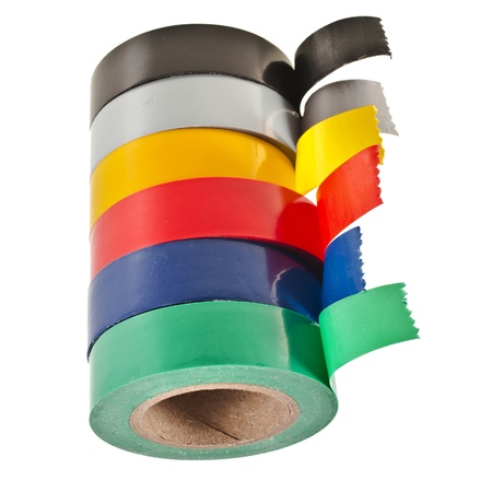 Multicolored insulating tapes roll isolated on white background Stock Photo - 17735546