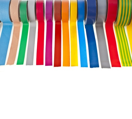 border of colorful adhesive tape isolated on white background photo