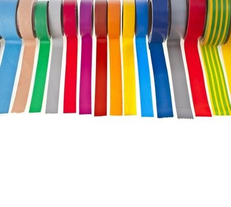 border of colorful adhesive tape isolated on white background Stock Photo - 17736174