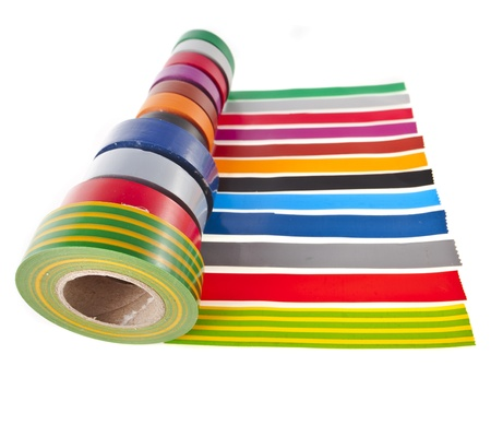 Strips of colourful insulating adhesive tape with roll isolated on white Stock Photo - 17735641