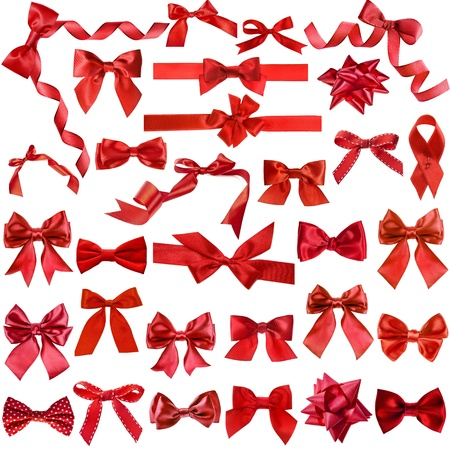 Big collection set of red gift ribbon bows isolated on white background Stock Photo - 17736191