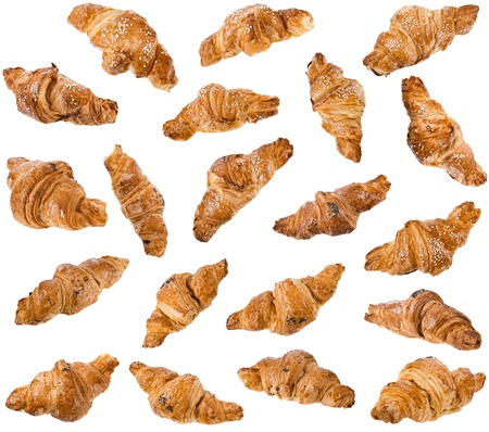 Collection of Croissant isolated on white background photo