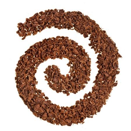 snake bar: Chocolate shavings swirl isolated on white background Stock Photo
