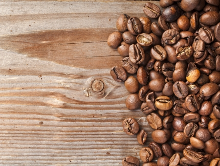 instant coffee: dark coffee on the wooden table background