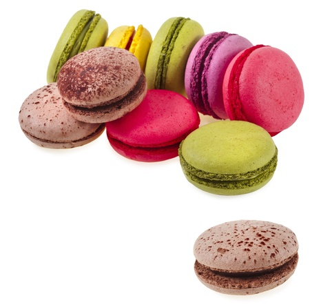 Colorful macaroons isolation on a white background Stock Photo - 17919410