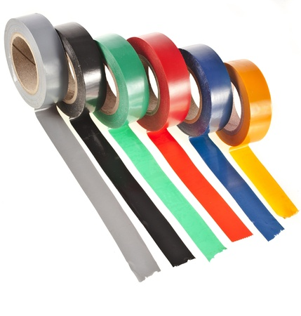 colorful adhesive tape roll isolated on white background photo