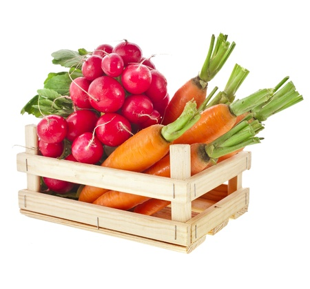 fresh vegetable, radish, carrots in wooden crate box isolated on white background photo