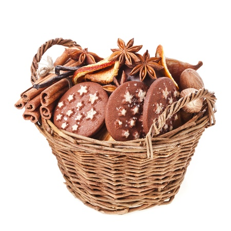 christmas basket full sweet cookie on a white background photo