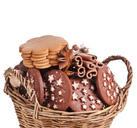 christmas basket full cookie on a white background Stock Photo - 17998675