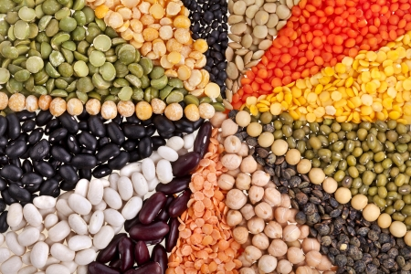 protein crops: radiate texture background , rays of different beans, legumes, peas, lentils