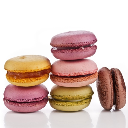 Colorful macaroons isolation on a white background Stock Photo - 18375577
