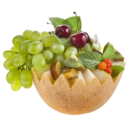 fruit mix basket isolated on white photo