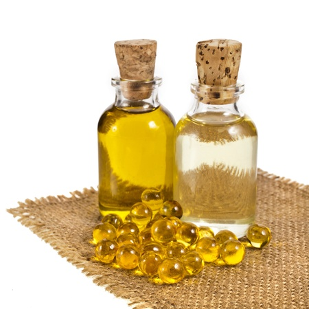 bottle oil isolated on white background photo