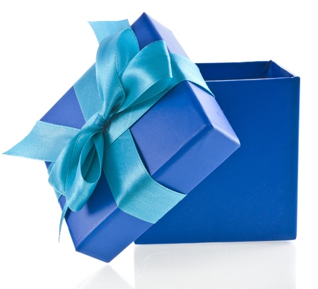 blue gift box: gift wrapped present box with blue satin bow isolated on white