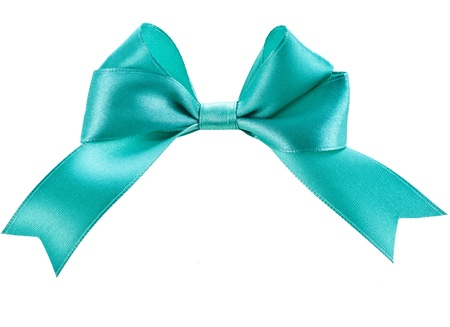 gift blue ribbon bow isolated on white photo