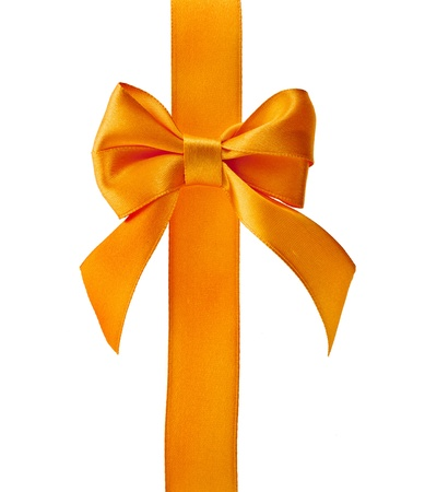 yellow ribbon: Gift yellow ribbon bow isolated on white Stock Photo