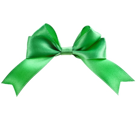 patric day: gift green ribbon bow isolated on white Stock Photo
