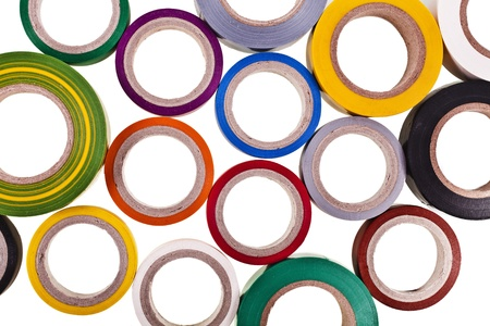 sellotape: colored circles roll of adhesive tape isolated on white background