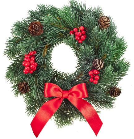 door leaf: Christmas decoration wreath with red holly berries isolated on white background