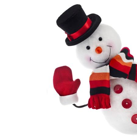 bonhomme de neige: Bonhomme de neige dr�le isol� sur fond blanc
