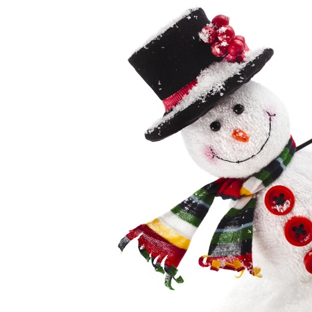 Cheerful Christmas snowman , isolated on white background Stock Photo
