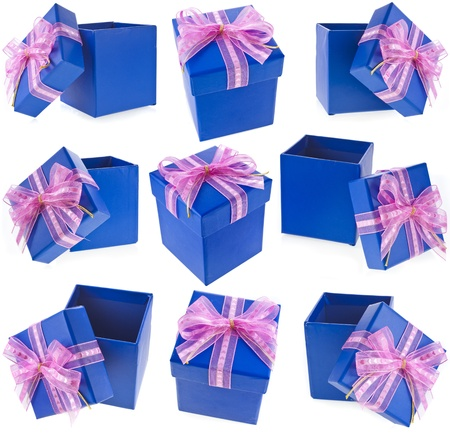 blue bow: Collection set of Holiday gift blue box with a pink bow  Isolated on white background
