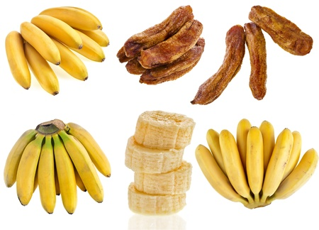 Bananas fruit food, collection set isolated on a white background photo