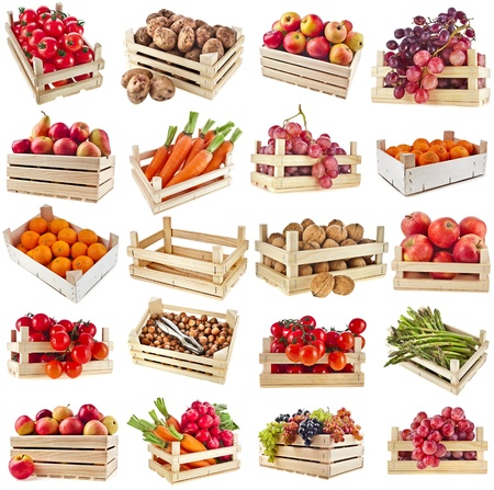 crates: Fresh tasty fruits, vegetables, berries, nuts in a wooden crate box ,collection set isolated on a white background