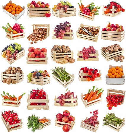 wooden box: Fresh tasty healthy fruits, vegetables, berries, nuts in wooden box , collection set , isolate on a white background