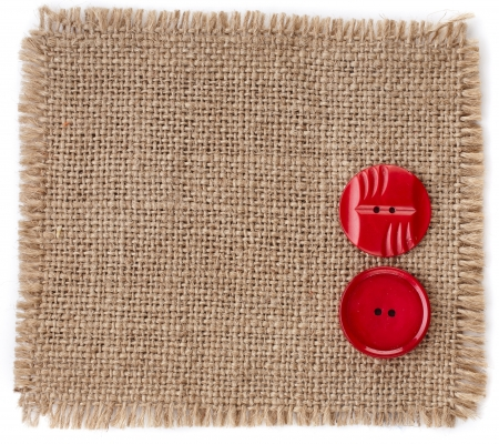 burlap sack: buttons on canvas burlap background texture isolated on a white background
