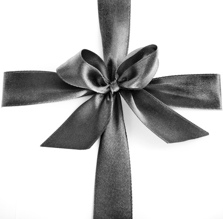 gift packs: Black ribbon isolated on white