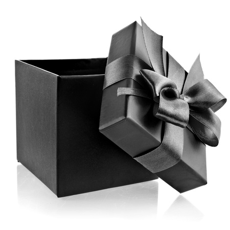gift packs: opened black box wrapping ribbon bow isolated on white Stock Photo