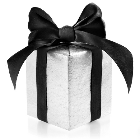 Silver box wrapping ribbon bow isolated on white photo
