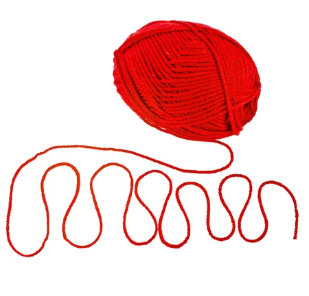 skein: red yarn thread isolated on white background