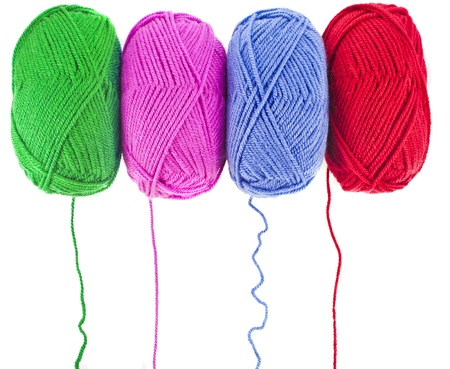 ball of wool: colors of yarn thread on white background Stock Photo