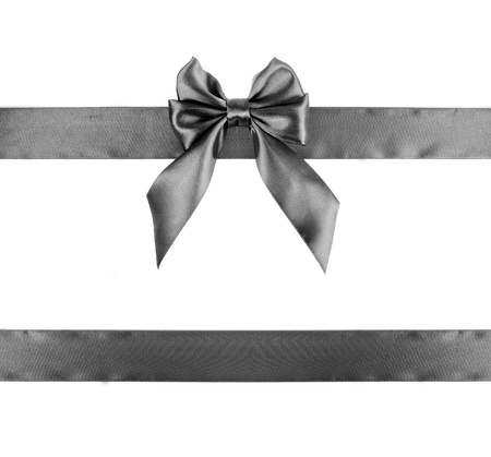 black ribbon bow: Black ribbon isolated on white