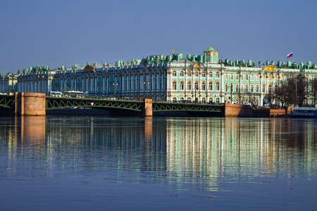 saint petersburg: View Winter Palace in Saint Petersburg with reflection from Neva river. Russia . Stock Photo
